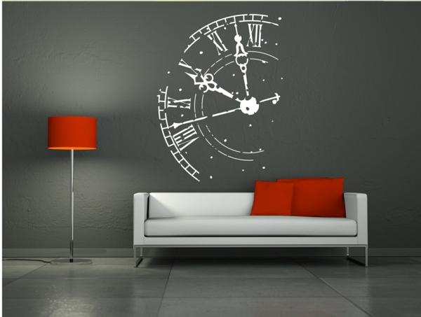 coole wohnzimmer uhren:Die Wandtattoo Uhren – Spaß und Kreativität!