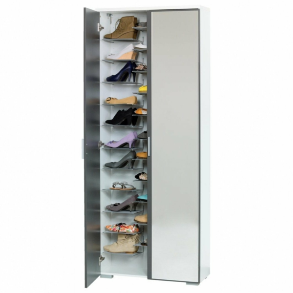 Schuhschrank mit spiegelfront f r eine schicke flur for Weisser schuhschrank