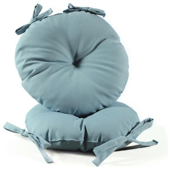 Blaue-runde-Sitzkissen