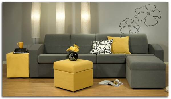 wohnzimmer grau gelb ~ kreative deko-ideen und innenarchitektur