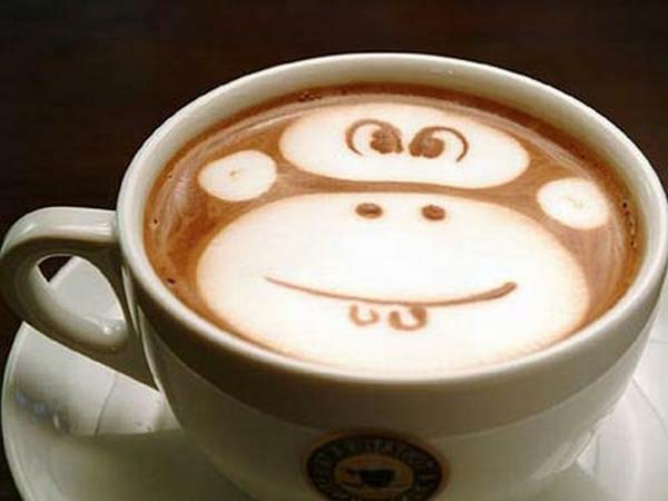 Affe-aus-Kaffeeschaum-Tasse-Kaffe-Dekoidee