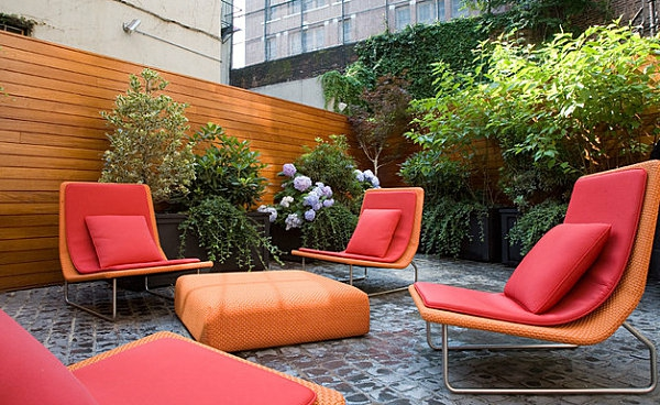 Außen-Möbel-Polster-Auflagen-Kissen-Kräftige-Farben-Rot