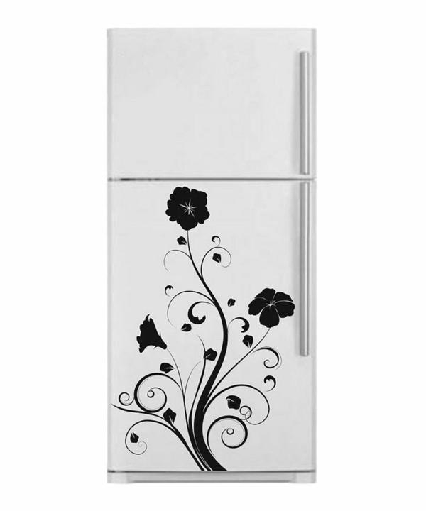 schwarze-Blumenmotive-Aufkleber-für-den-Kühlschrank