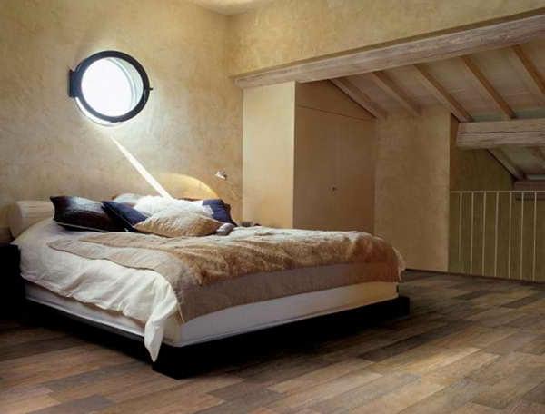 schlafzimmer im landhausstil - kleines fenster