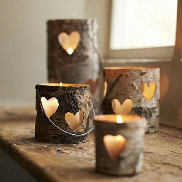 Holzstamm deko f r ihr zuhause for Kerzen dekoration