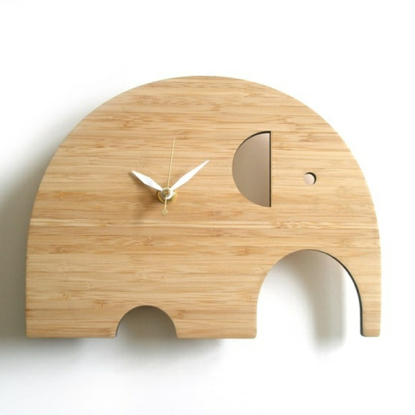 Dekoelement-Wanduhr-aus-Holz-Elefant