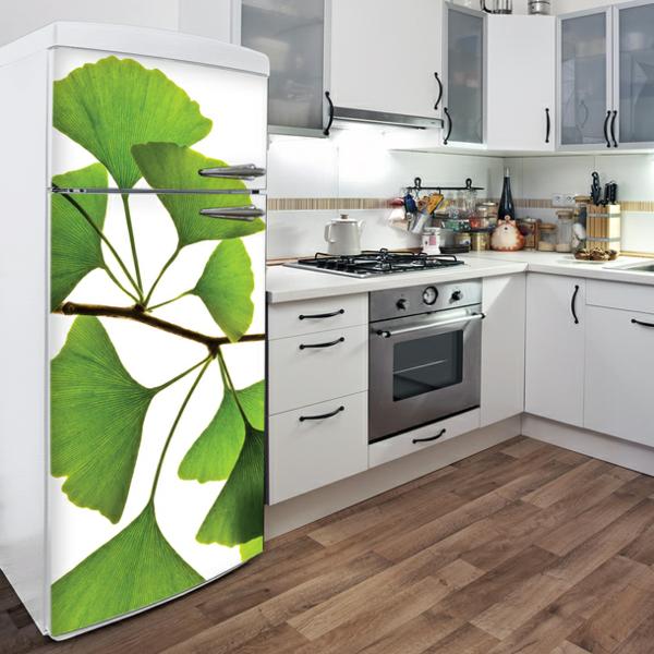 Designidee-Aufkleber-für-den-Kühlschrank-Ginkoblatt