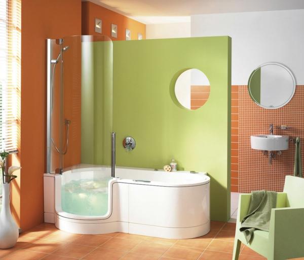 Dusch-Badewanne-Kombination-grüne-Farbe-orange-Wand