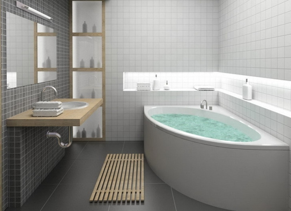 Badewanne für kleines Bad - 22 schöne Ideen - Archzine.net | {Modernes bad mit eckbadewanne 0}