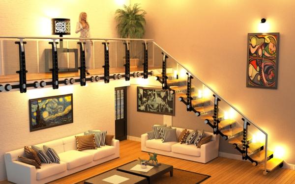 Freitragende Treppe Modernes Wohnzimmer Design Viel Licht