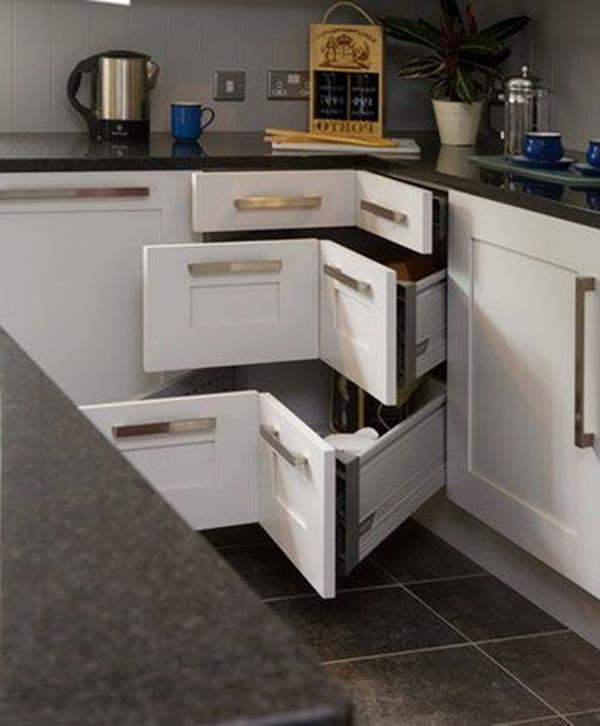 Gestaltung-für-kleine-Küche-Eckschränke-Idee