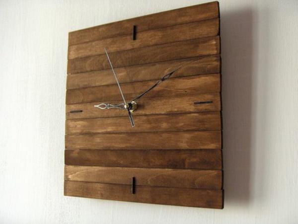 Holzplatte-hölzerne-Wanduhr-Design