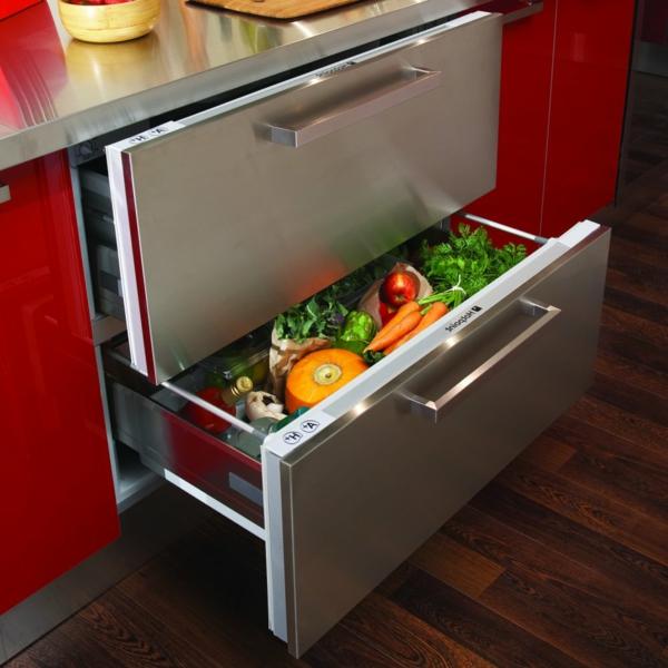 Hotpoint-modernes-Design-Kühlschränke-mit-Schubladen-Rot