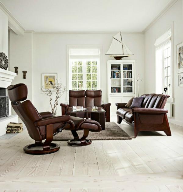 schönes zimmer design mit möbeln aus leder