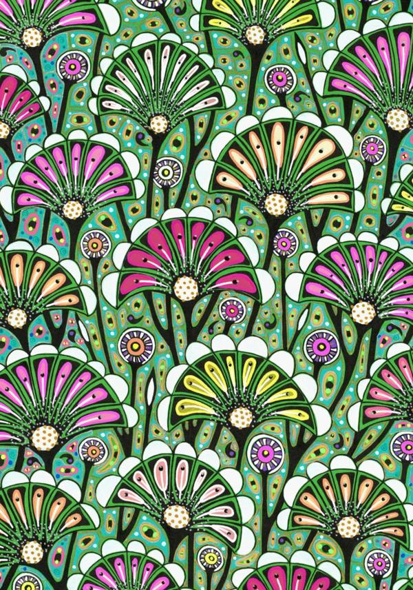 Jugendstil - Ornamente- Vorlagen-Blumen für-die Tapete