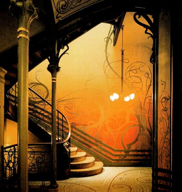 Jugendstil - Ornamente- Vorlagen-Deco-und-die-Treppe