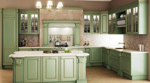 Küchengestaltung-mit-Möbeln-in-Vintage-Stil-Grün-Retro