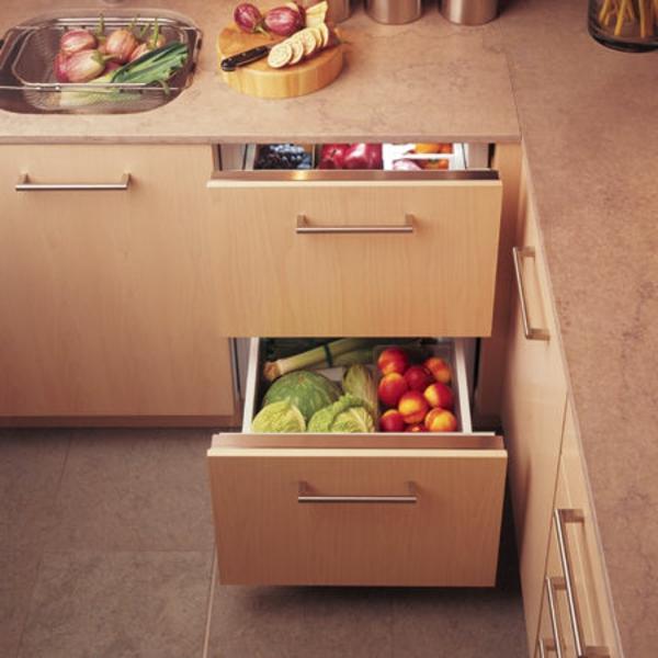 Modern-cedar-wood-panels-GE-monogram-refrigerator-drawers-for-built-in-refrigerator-shelves-in-modern-kitchen-furnishing-ideas