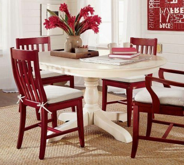 roter tisch und stühle | möbelideen, Esstisch ideennn