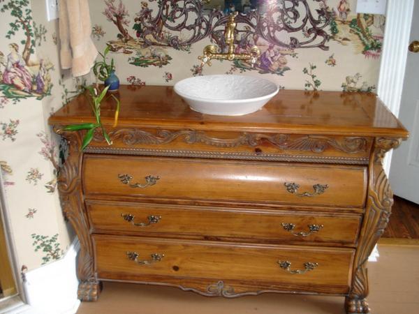 Schubladen-Möbel-Vintage-Holz-Waschtisch