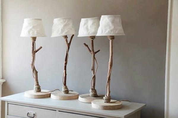 vier-Tischlampen-Treibholz-kreatives-Design