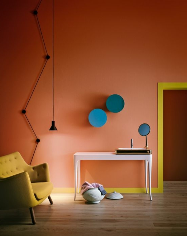 apricot-wandfarbe-farbgestaltung-zimmer-originell
