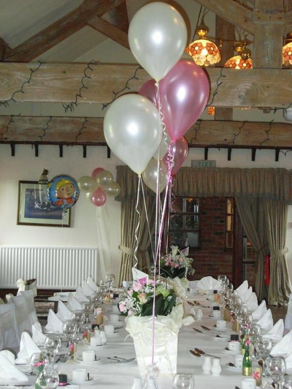 ballon-deko-weiß-rosa - interessante tischdeko