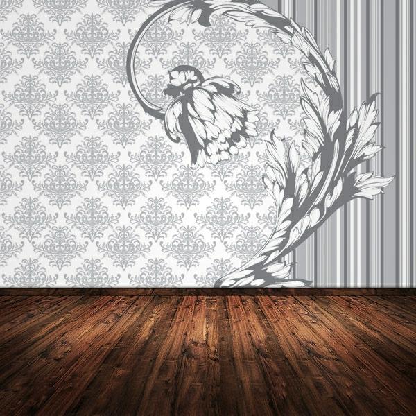 barock-tapete-in-weiß - neben einem hölzernen boden