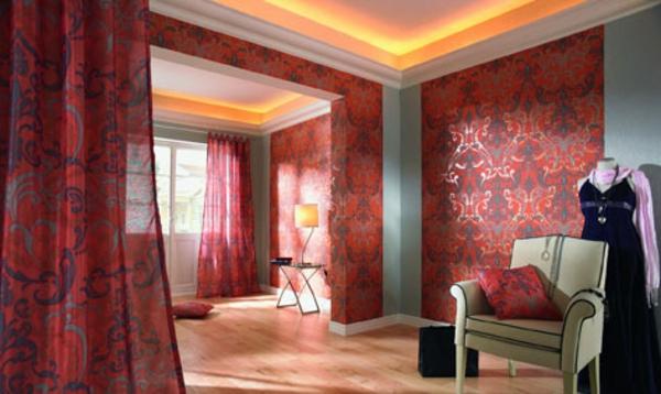 barock-tapete-rote-farbe - und gardinen