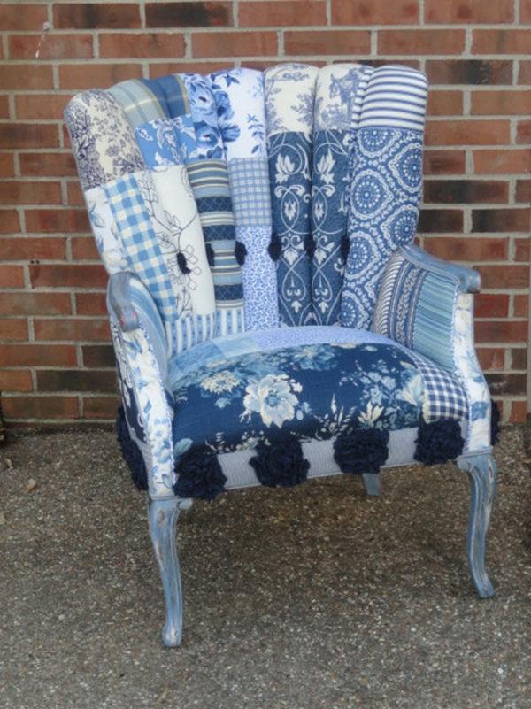 blau-weiß-Sessel-Patchwork