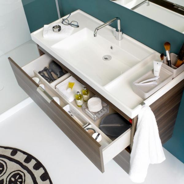Moderner Waschbeckenunterschrank Mit Schubladen   Blaue Wand