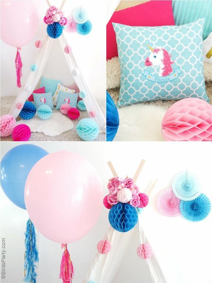 deko 1 geburtstag junge, partydeko ideen, dekoration in rosa, blau und weiß, tipi