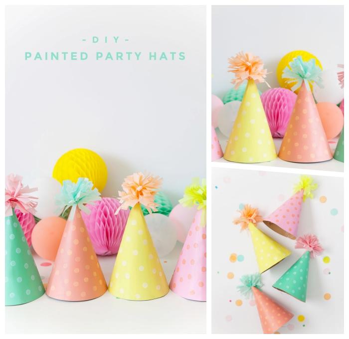 partydeko ideen, partyhüte selber machen, deko 1 geburtstag mädchen, pompons aus seidenpapier