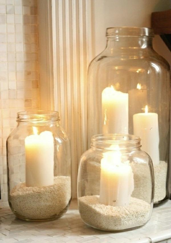 deko-bastelideen-kerzen-in-bechern - romantischer look