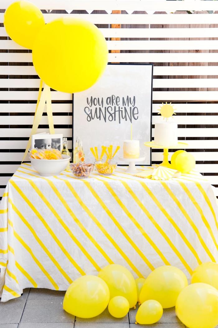 kindergeburtstag dekoration, partydeko in weiß und gelb, deko erster geburtstag, kinderparty dekoideen