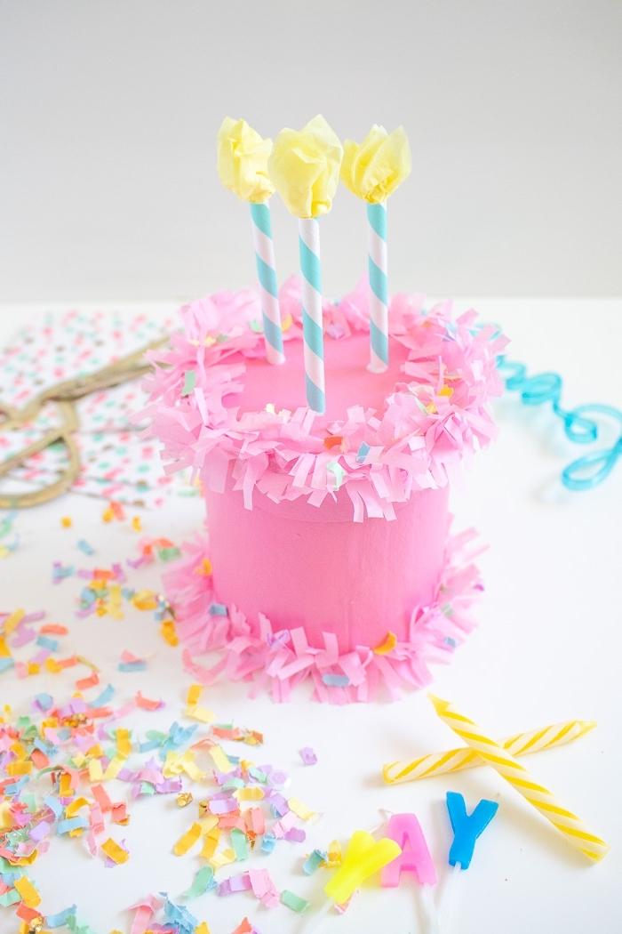 deko für kindergeburtstag, rosa trote, geburtstagsbox, geschenkbox geburtstagskuchen