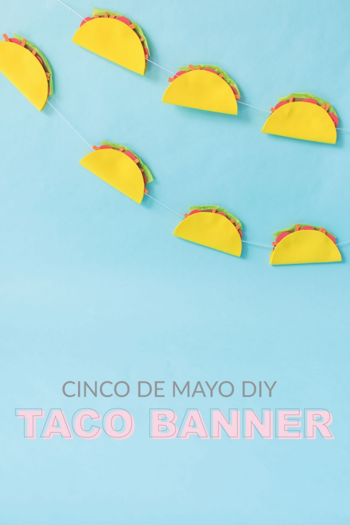 deko geburtstag, diy girlande mit tacos, basteln mit papier, kindergeburtstag ideen
