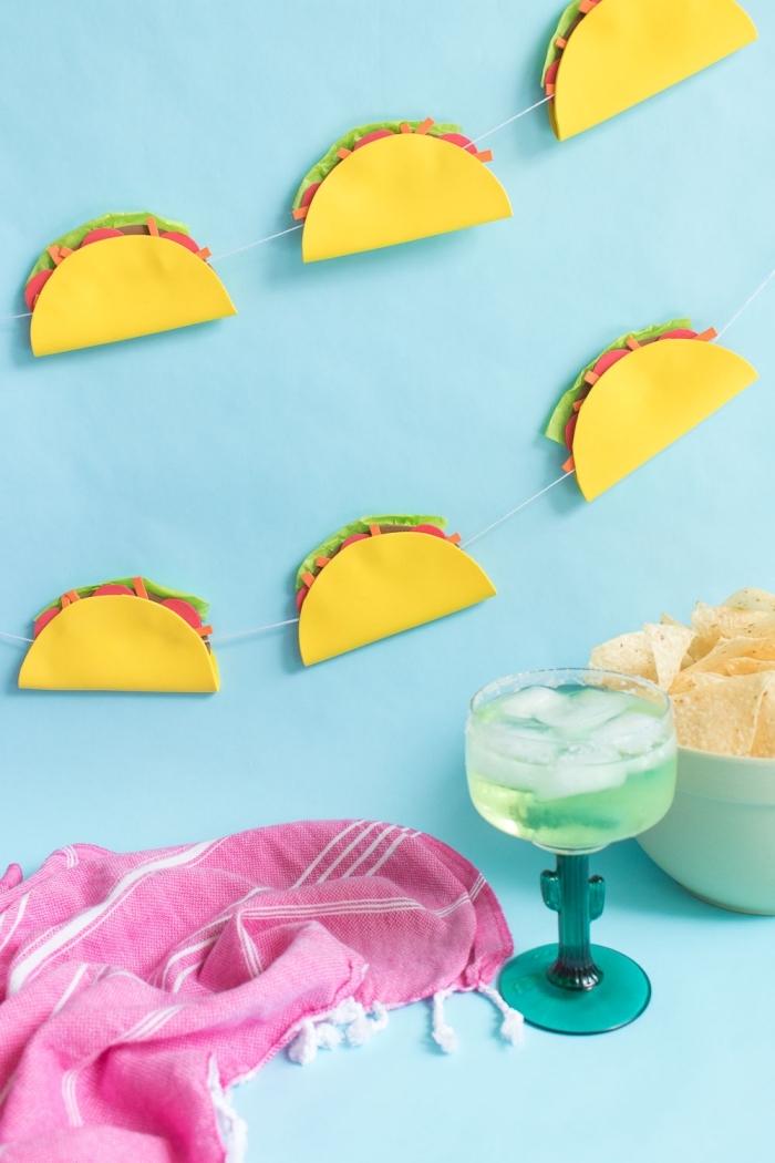 deko geburtstag selber machen, taco girlande basteln mit papier, wanddeko ideen