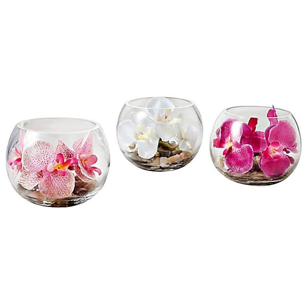 deko-orchidee-im-glas-drei-stücke-blumendeko