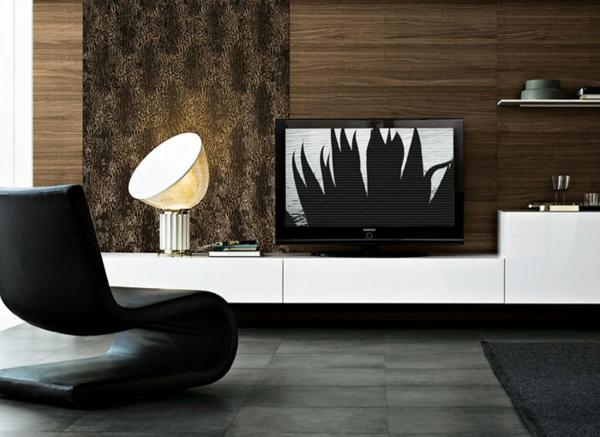 Deko Paneele Elegantes Wohnzimmer   Mit Einem Schicken Schwarzen Stuhl
