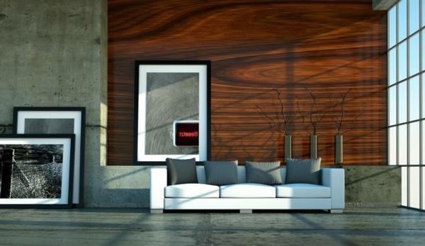 Dekopaneele Im Modernen Wohnzimmer Mit Hoher Decke