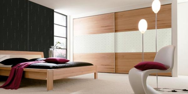 deko   paneele-im-schönen-zimmer - modernes bett design und lampen