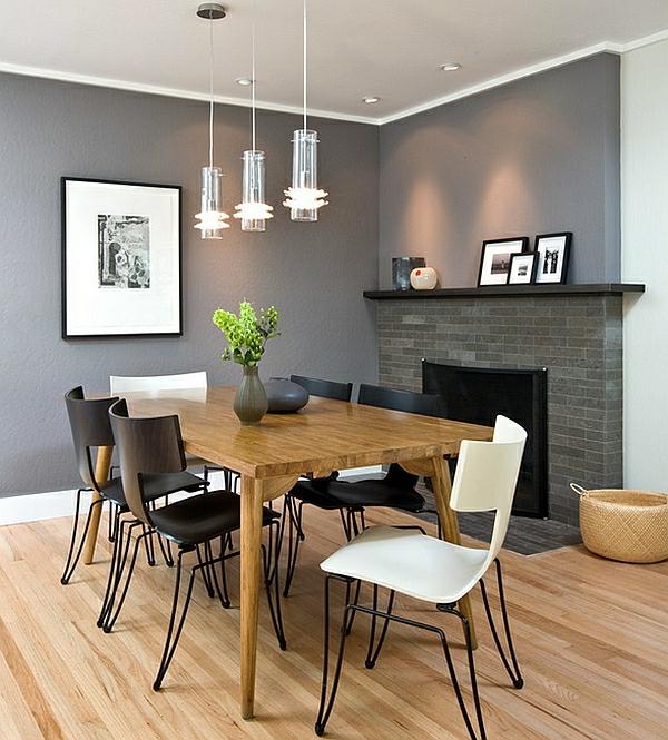 designer-esszimmerstühle-esszimmer-kamin-schwarz-weiß