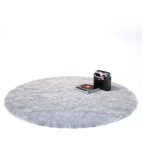 ein-kleiner-runder-weißer-teppich- und hintergrund in weiß