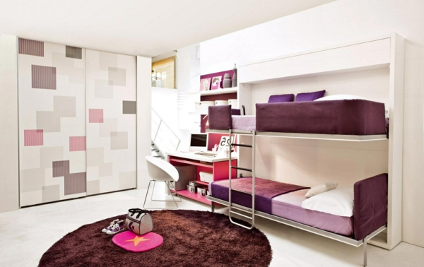eine-gute-idee-für-kleine-runde-teppiche-im-kinderzimmer - mit einem doppelbett