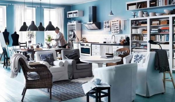 einrichtungstipps-fürs- wohnzimmer-ikea-design - blaue wände