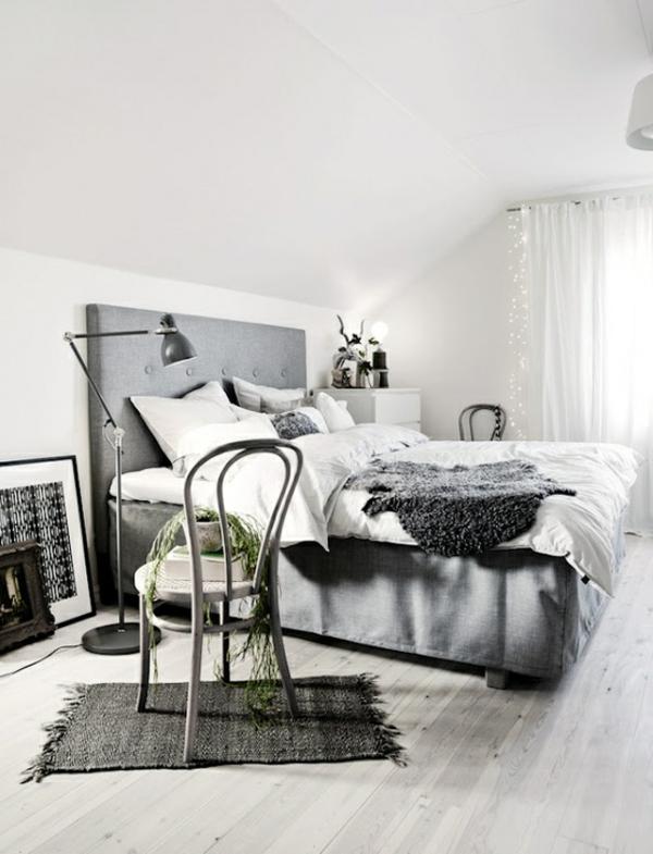 elegantes-skandinavisches-schlafzimmer- in weiß und grau