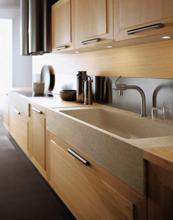 elegantes-steinspülbecken-für-die- küche-moderne beige schränke