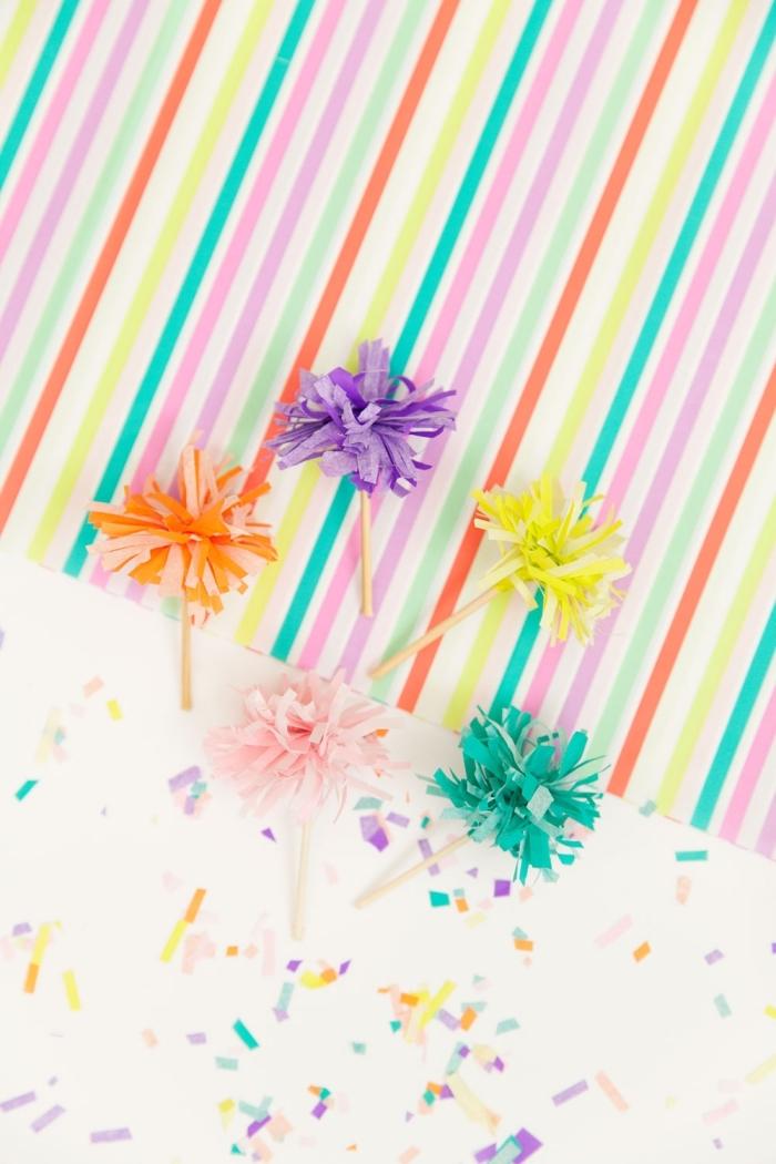 erster geburtstag deko, cupcakes dekorieren, muffin tippes basteln aus seidenapapier