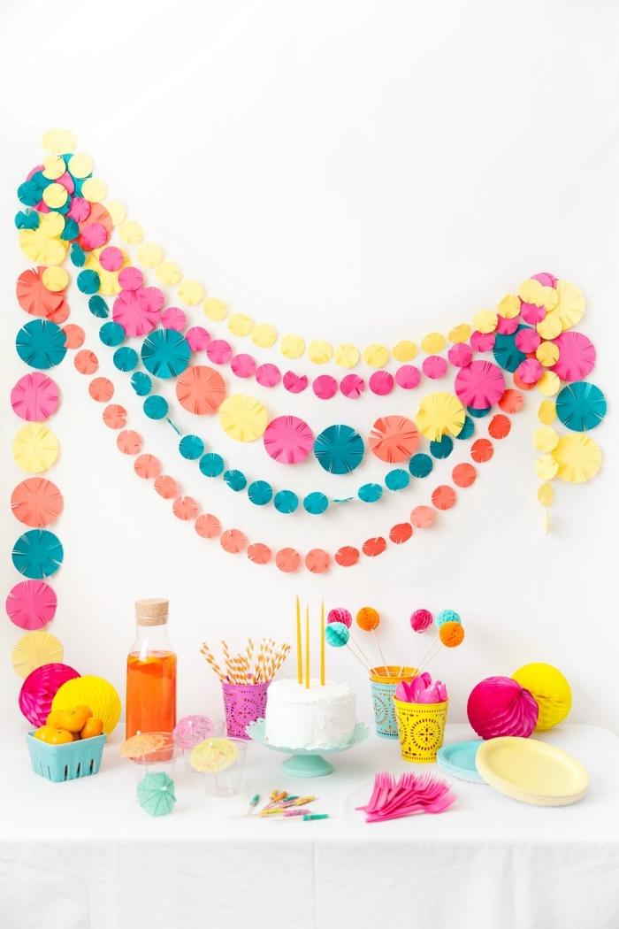 erster geburtstag deko, farbenfrohe dekoration aus papier, girlande basteln, wanddekoration